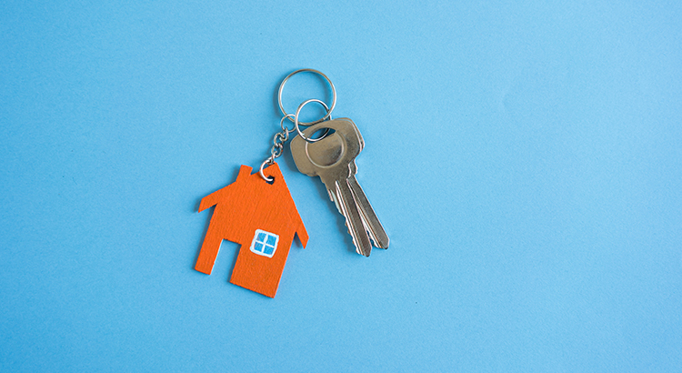 2 keys on a small house keychain