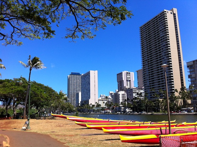 Waikiki Surf Club Canoes Near University Ave.