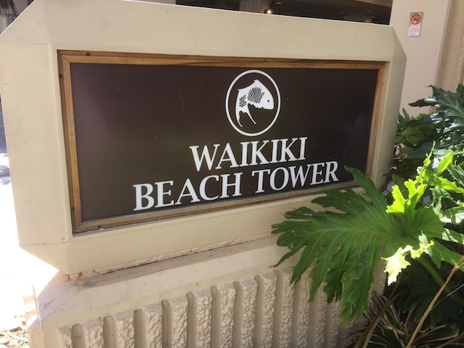 Waikiki Beach Tower Sign