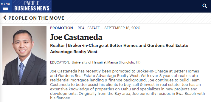 Joe Castaneda Pacific Business News PBN
