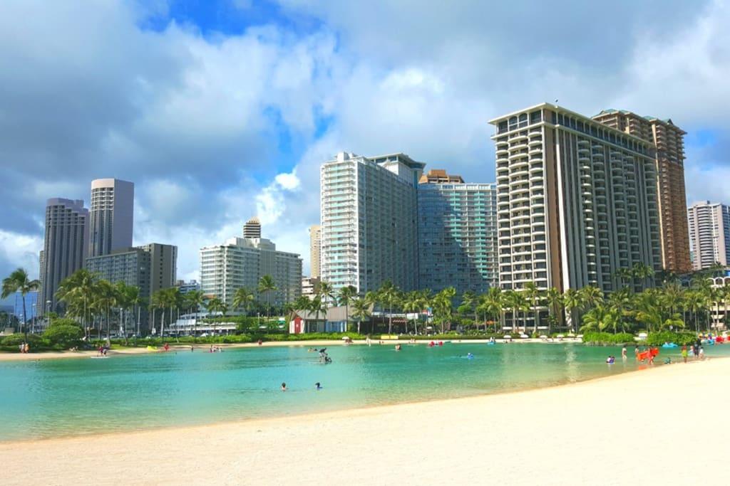Ilikai Apartments View From Beach