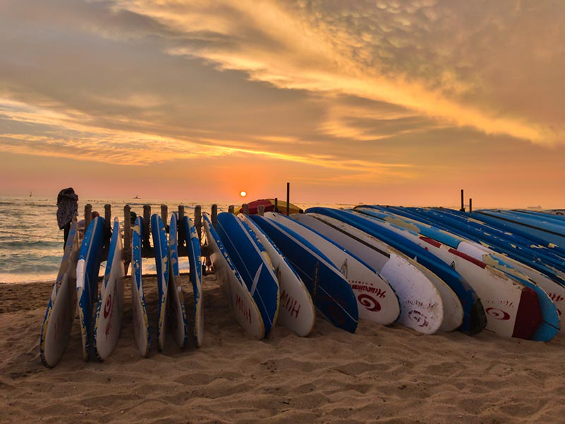 Waikiki Beach Sunset Surfboards