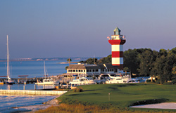 Views of the 18th golf hole at Harbour Town in Sea Pines, Hilton Head, SC