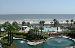 View of Lagoon and  Swimming Pool at The Sea Crest Oceanfront Condo Complex in Hilton Head, SC