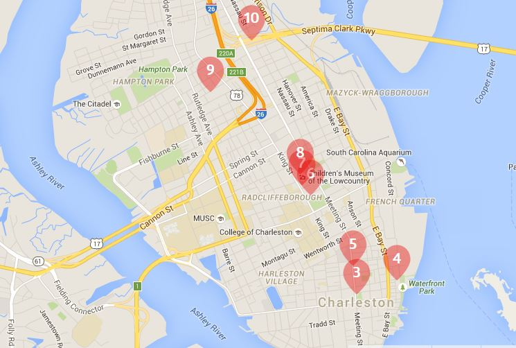 Best Cocktail Bars in Charleston, SC Map