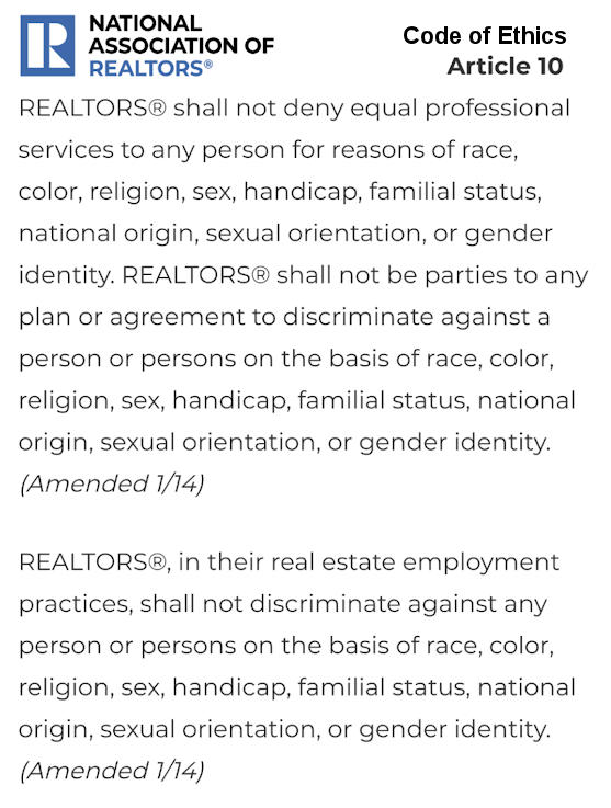 REALTOR Code of Ethics Article 10