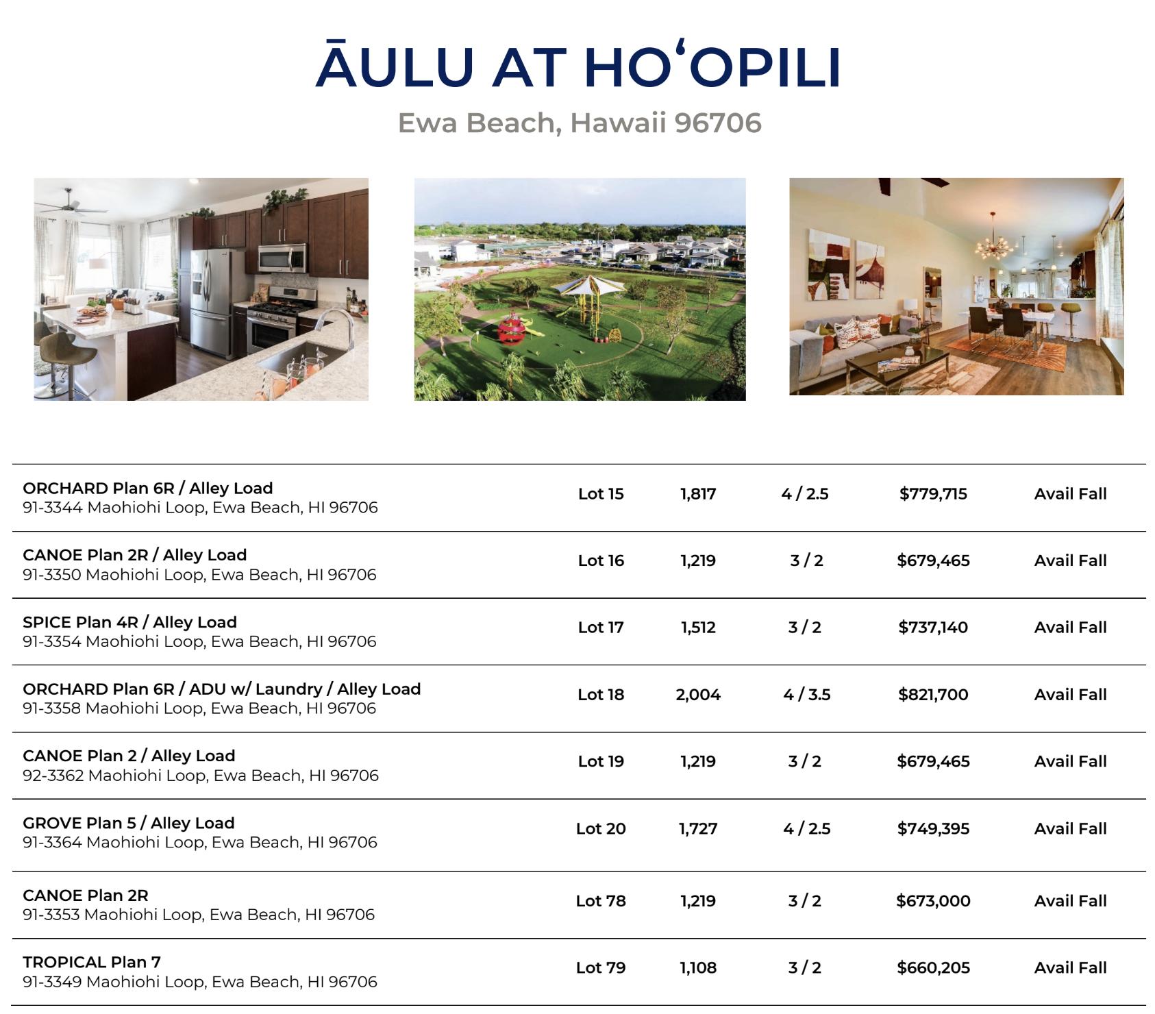 Aulu Price Sheet - Lottery 1