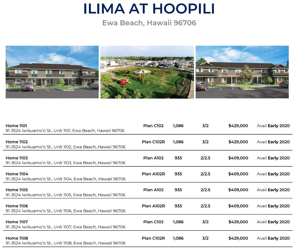 Ilima Affordable Housing Prices