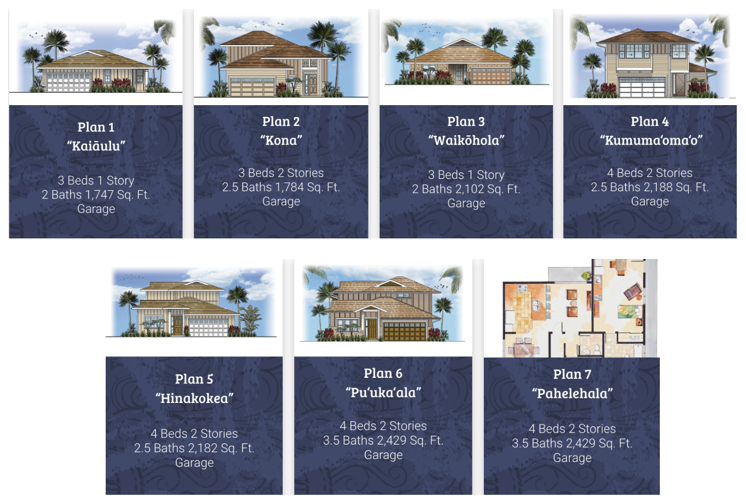 Cottages at Mauna'olu House Plans