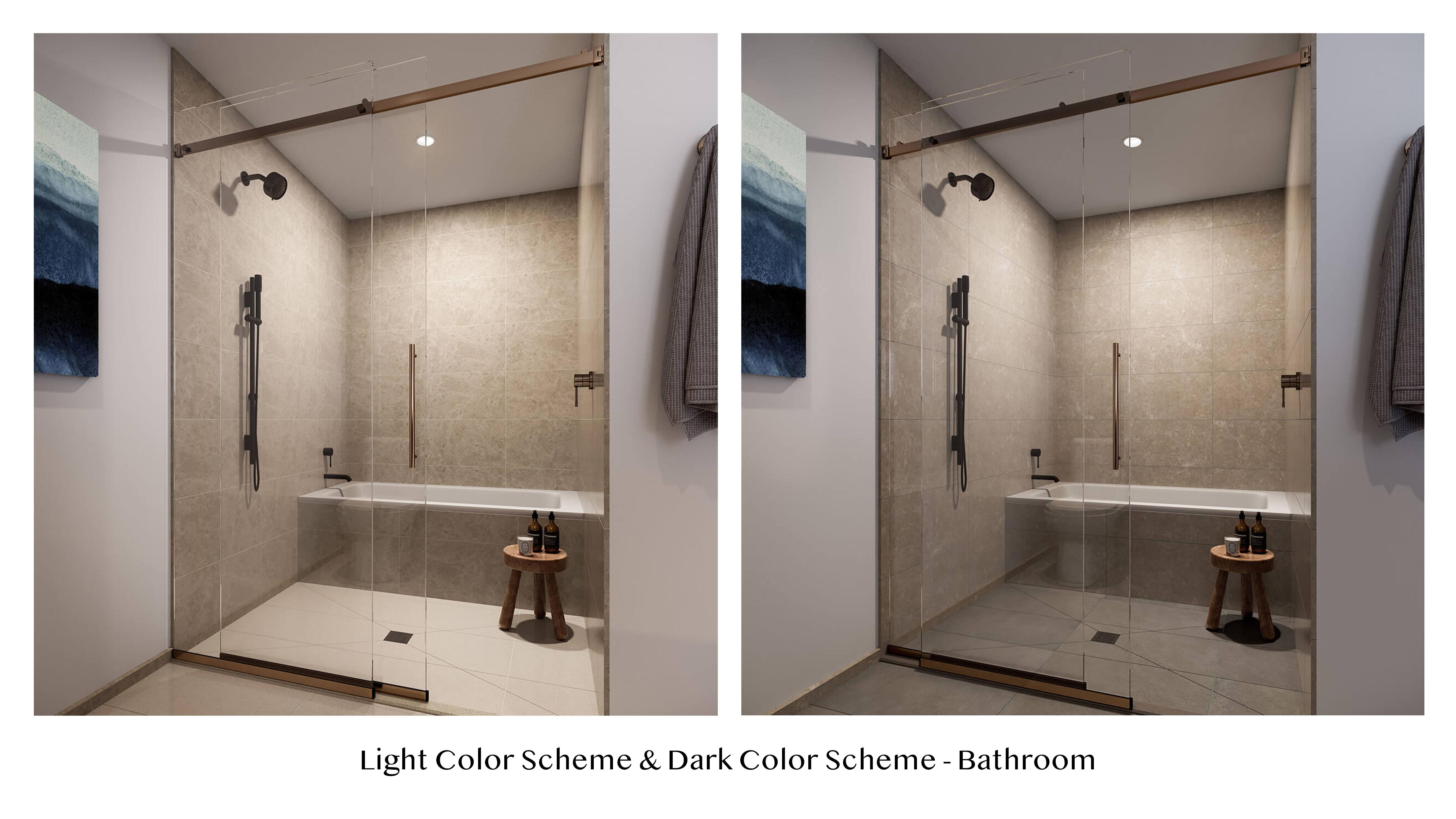 light vs dark bathroom color scheme