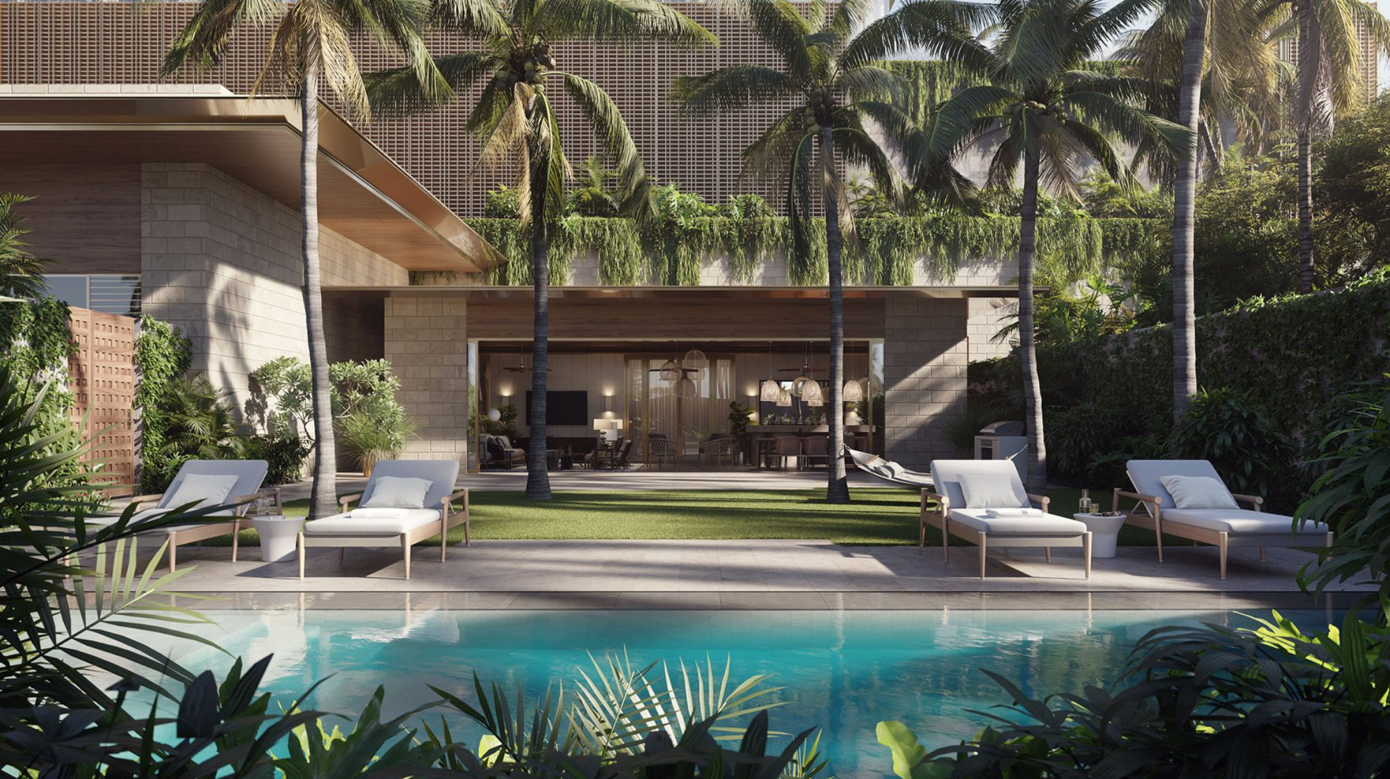 Victoria Place Lauhala Pool House