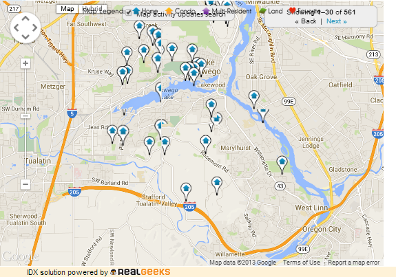 Map of Homes For Sale in Lake Oswego