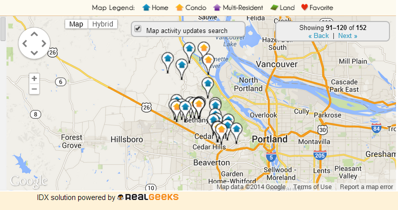 Map of Homes For Sale in NW Portland