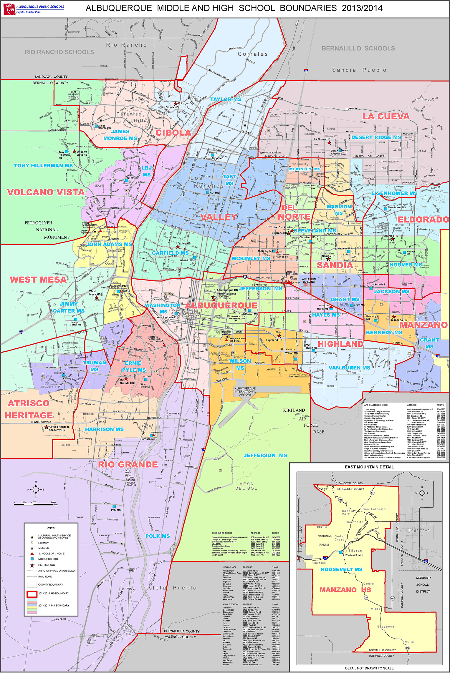 Albuquerque Public Schools Middle and High School District Map