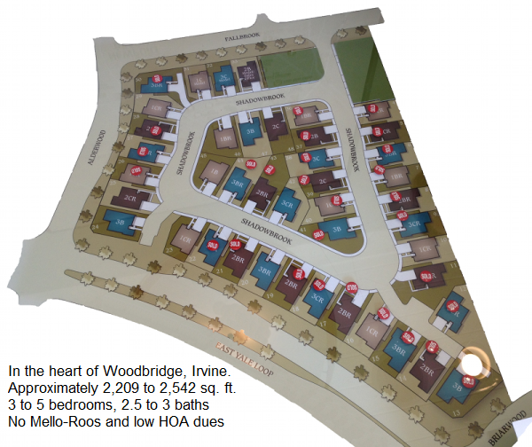 Map showing location of homes in The Branches, Woodbridge