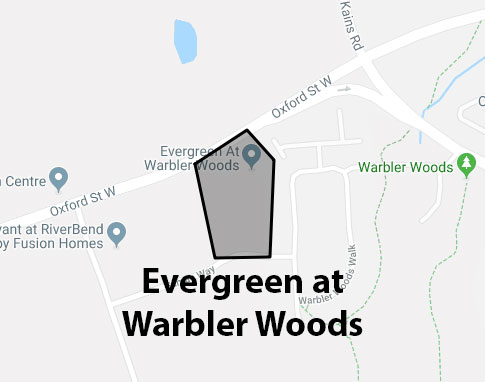 Evergreen at Warbler Woods London Ontario Area Map