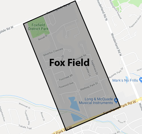 Fox Field London Ontario Area Map