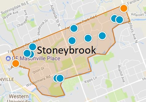 Stoneybrook London Ontario Area Map