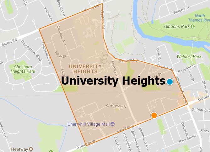 University Heights London Ontario Area Map