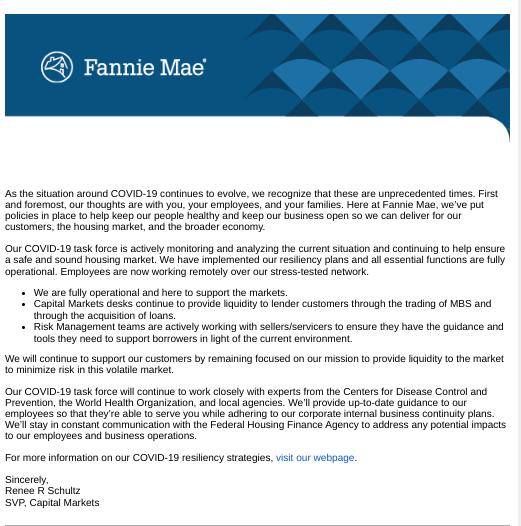 Fannie Mae's Response to COVID-19