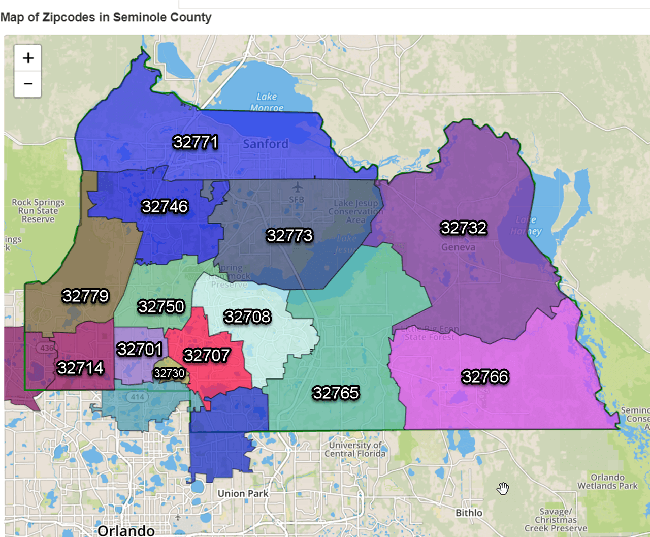 seminole fl zip code map Seminole County Zip Codes 2020 Map