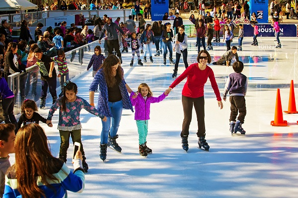 Houston Discovery green ice skating