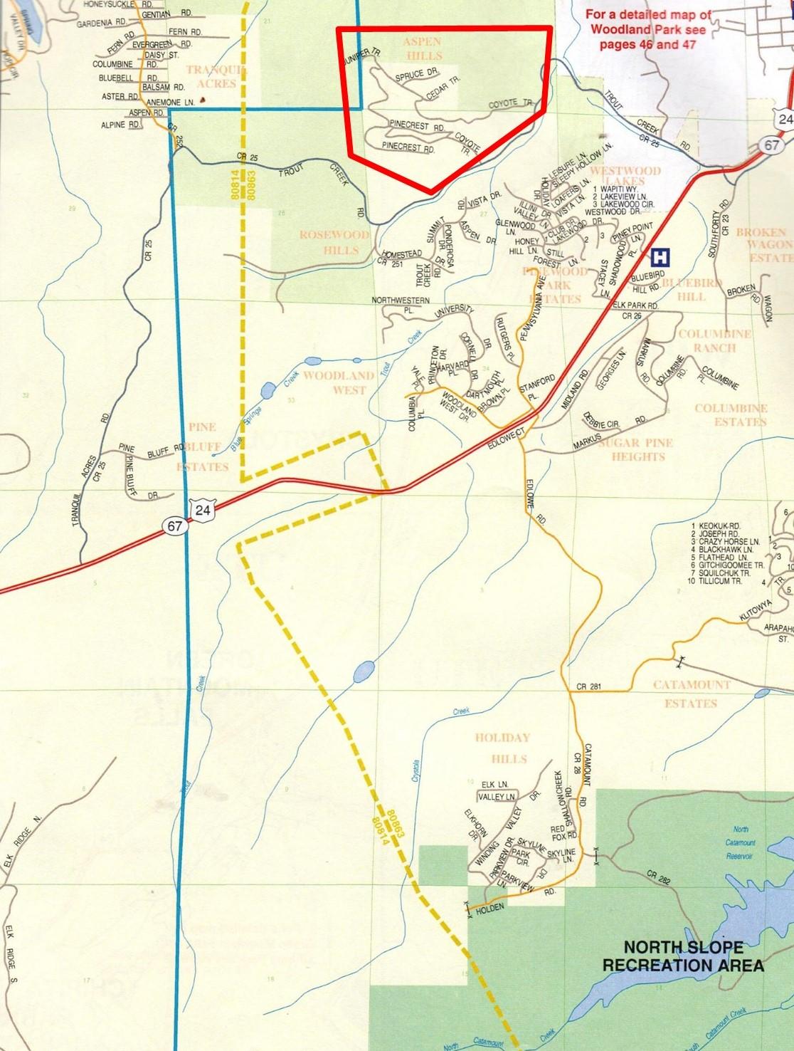 Map of Aspen Hills, Woodland Park, CO