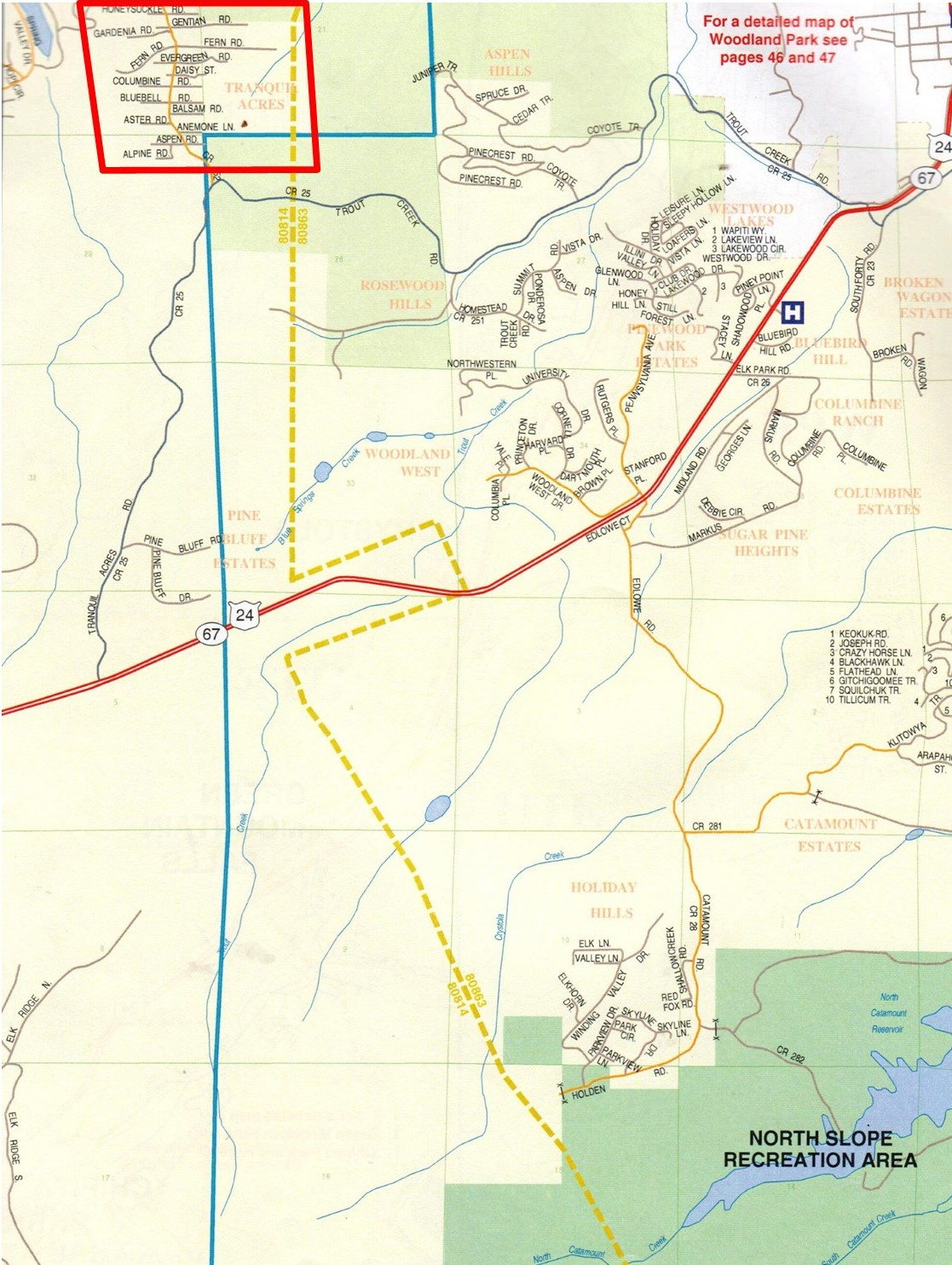 Map of Tranquil Acres in Woodland Park, CO