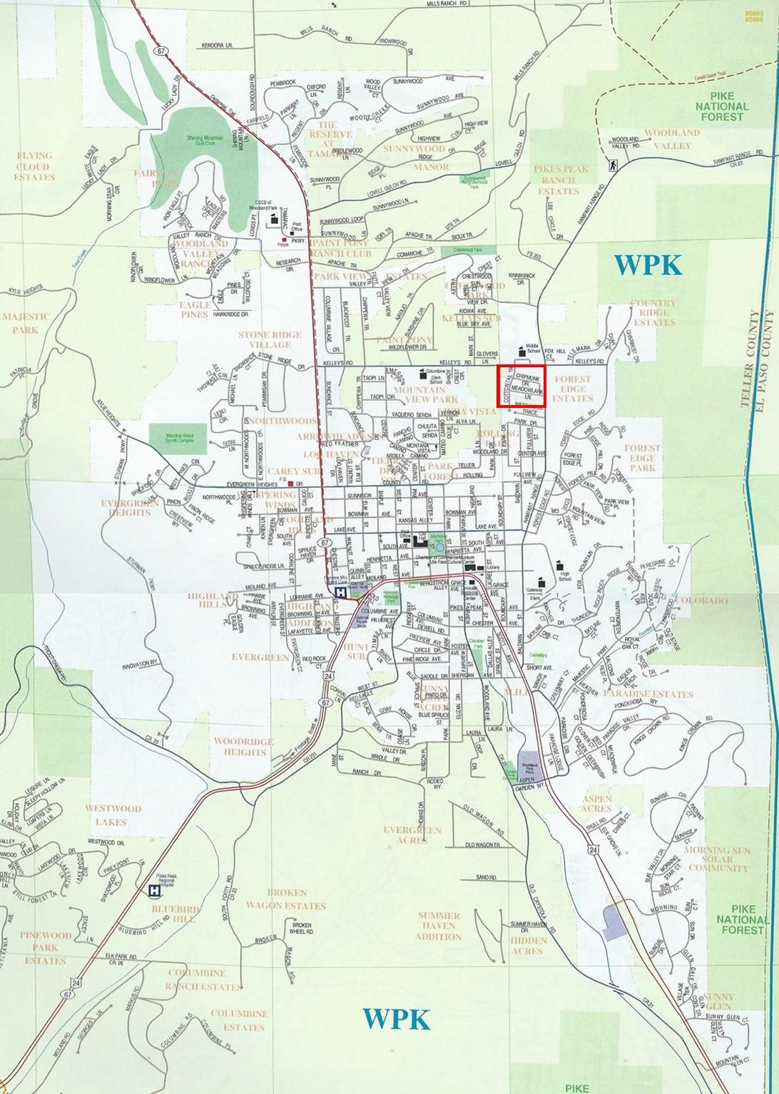 Location of Wildernest in Woodland Park, CO