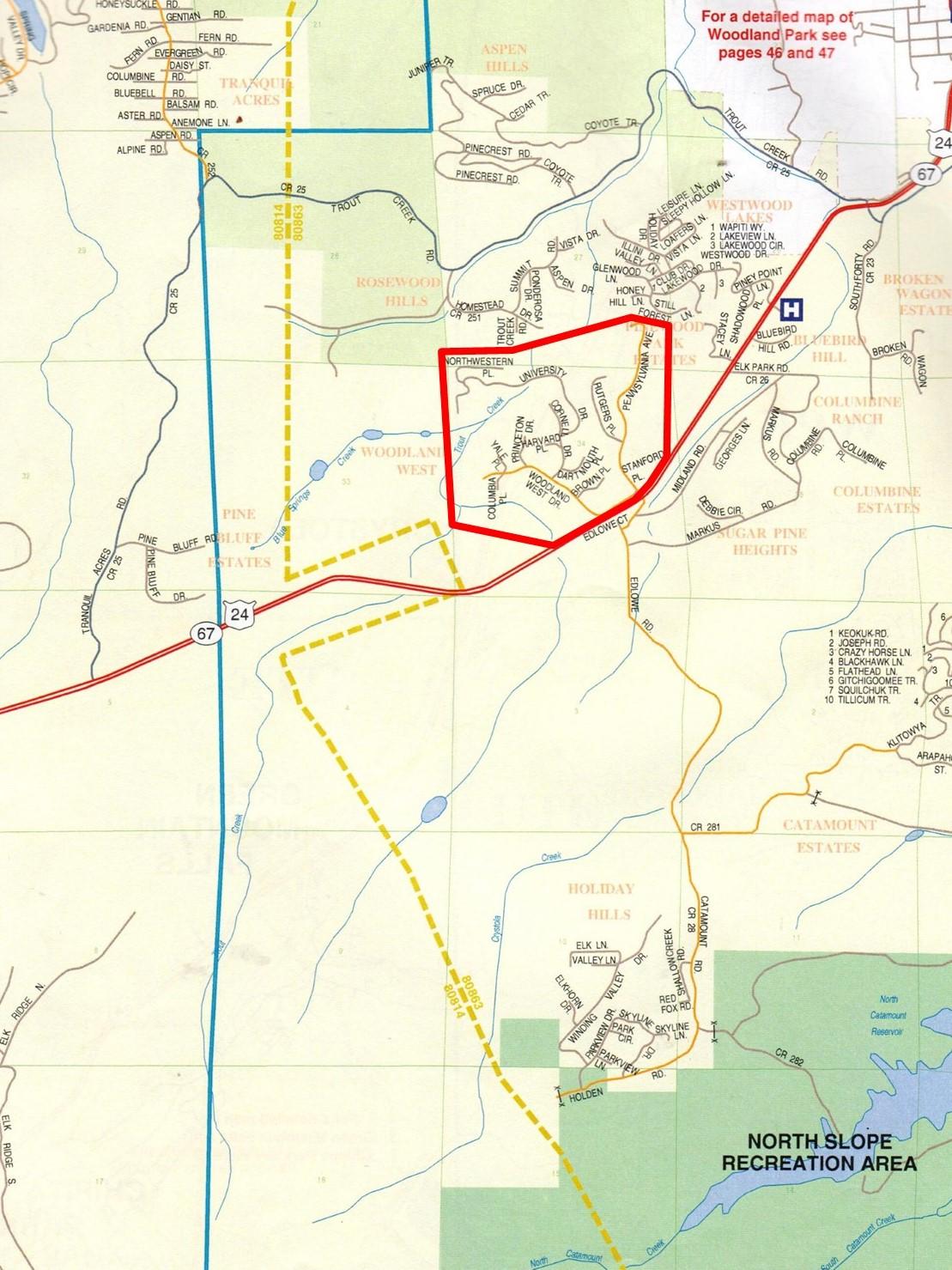 Woodland West Map