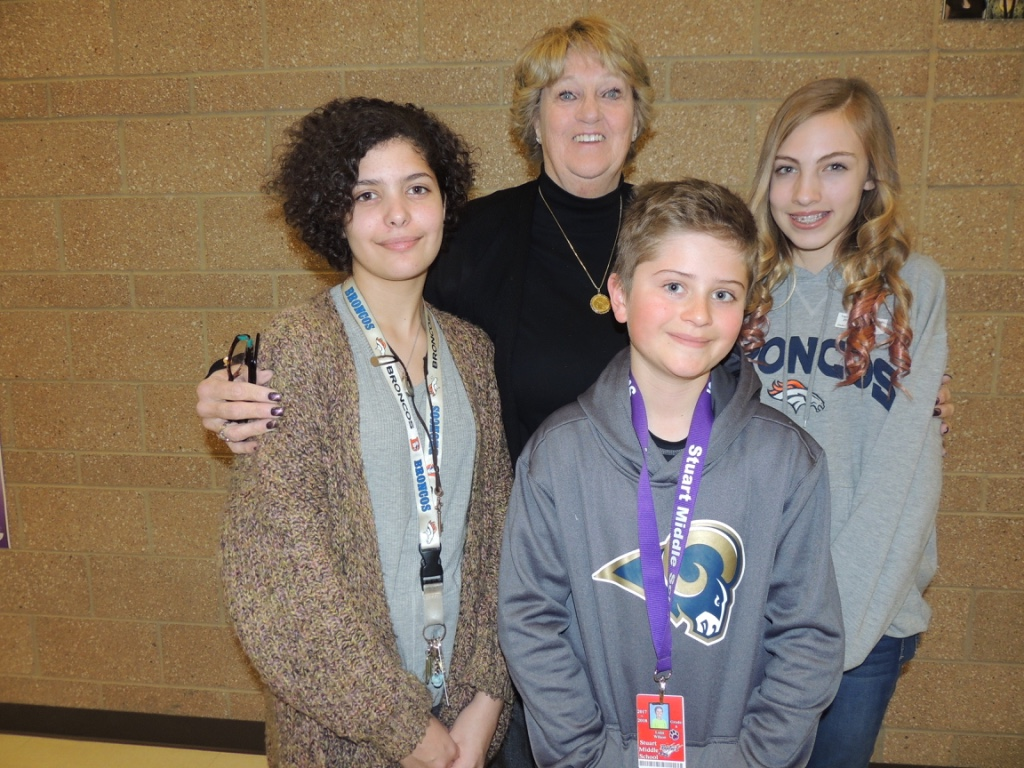Jean Broad with Stuart Middle School Students