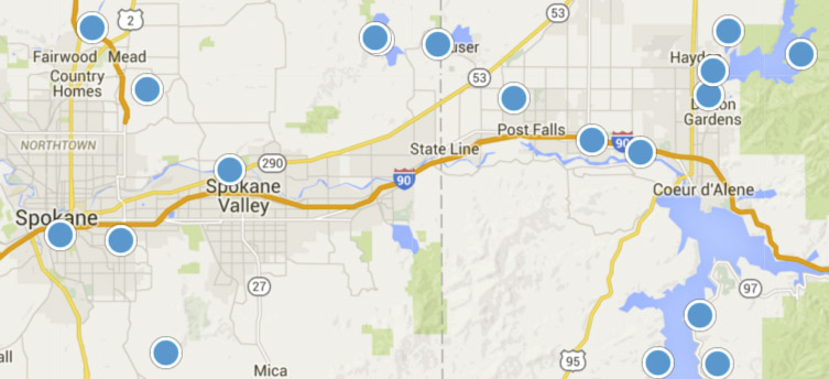 Search IDX Map for Spokane and Idaho