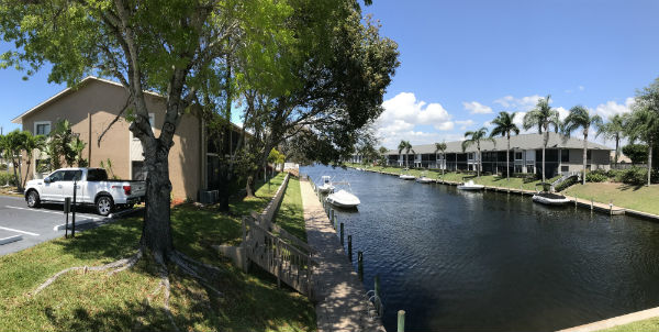 Gulf Access canal at Barclay Bay condos for sale