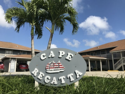 Sign marquee at Cape Regatta Condo Cape Coral