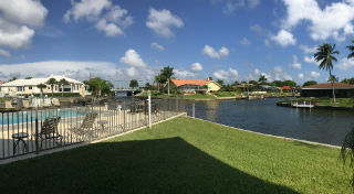 Overlooking gulf access canals at Cape Regatta in SW Cape Coral