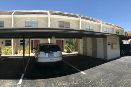 Carports and storage lockers at Coral Bayview I in Cape Coral Florida