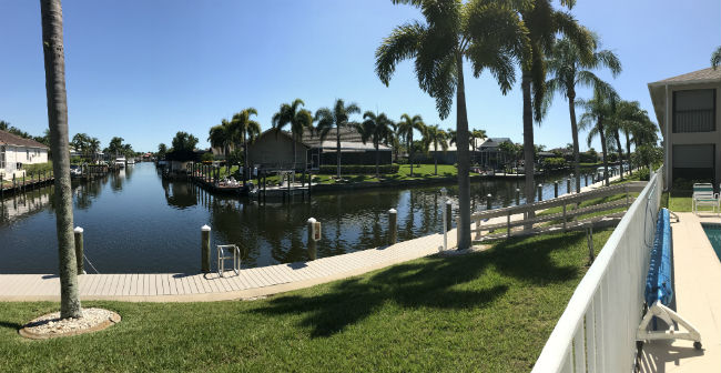 Intersecting canal views at Dockside Condo Cape Coral