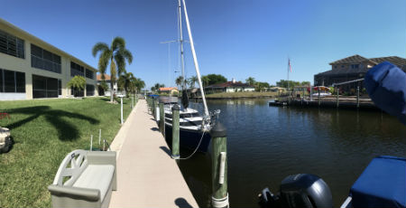 The community dock at Kimberly Bay Condo Cape Coral