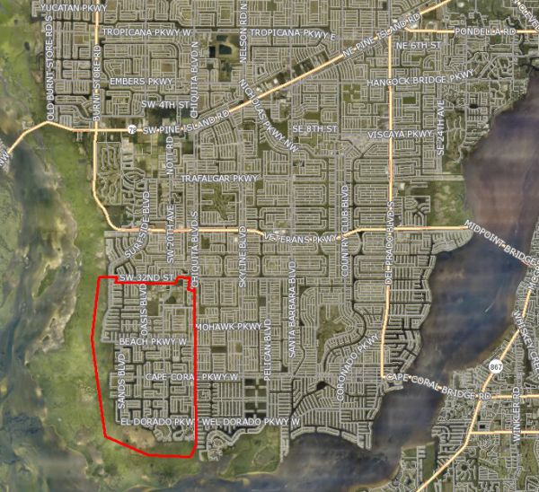 Cape Cod Florida Map.Homes For Sale 250k To 350k Sw Cape Coral Florida