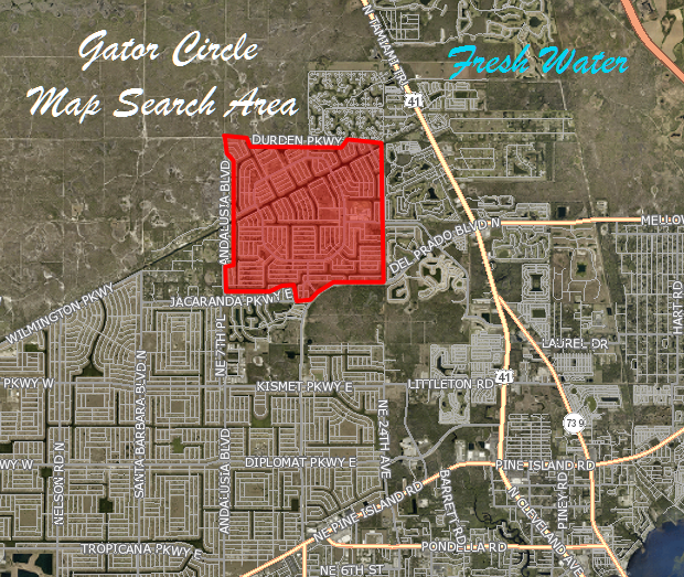 Gator Circle Cape Coral Fresh Water Lots for Sale