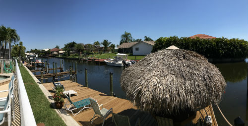 Tiki Hut and Dock at Palmtation Condo II in Cape Coral
