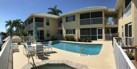 The Pool Area of Palmtation Condo II in Cape Coral