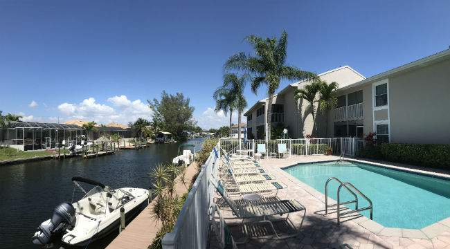 Pool and Boat Docks at Pointe Coral Condo in Cape Coral Florida