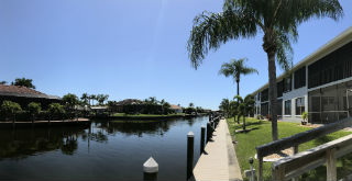 Quiet gulf access canal at Searay Condo in SW Cape Coral