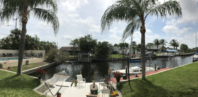 Canal with Dock view on Gulf Access canal in SW Cape Coral
