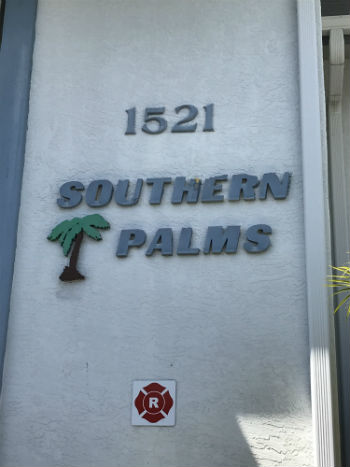 Sign Plaque Southern Palms condo community Cape Coral Florida