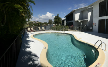 Pool overlooks the Gulf Access canal at Southern Palms Cape Coral