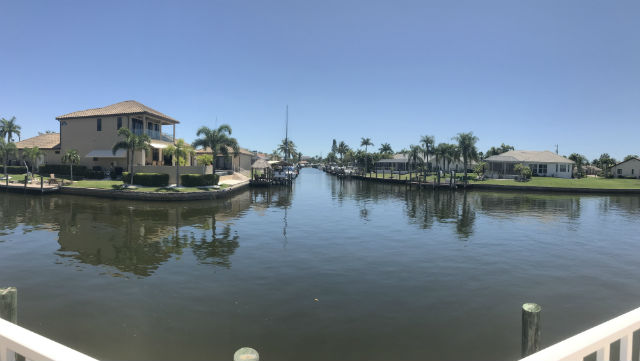 Intersecting Direct Gulf Access Canals at Villa De Vern Condo