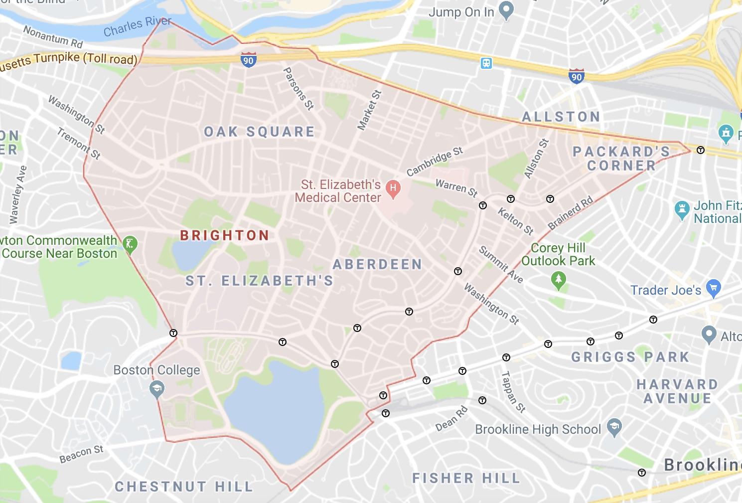 Brighton, MA map