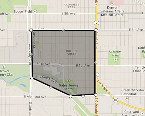 Map of Cherry Creek